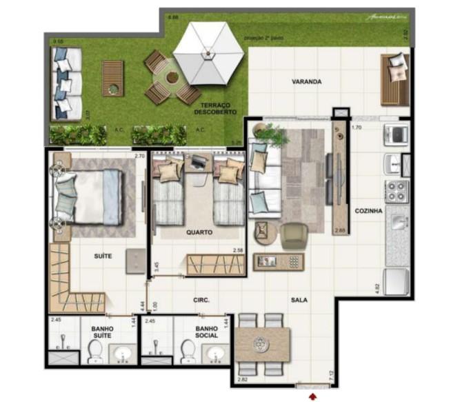 2 quartos 1 suite garden