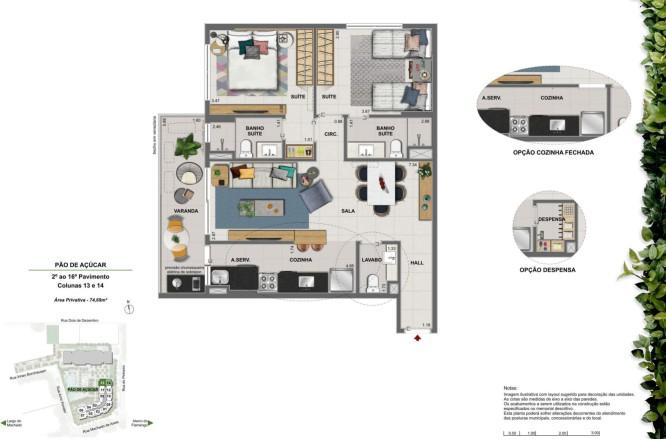 Apartamento 2 quartos 2 suítes