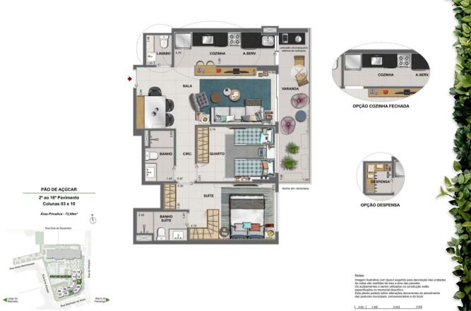 Apartamento 2 quartos com suíte