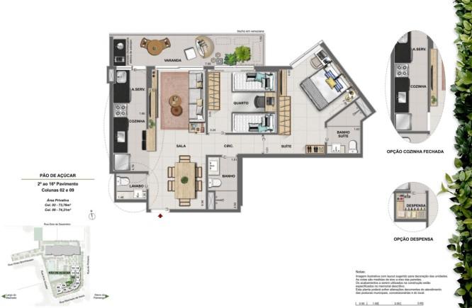 Apartamento 2 quartos suíte