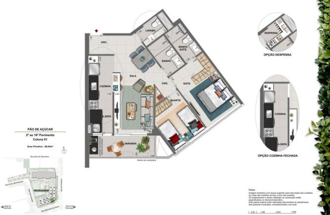 Apartamento 2 quartos suítes