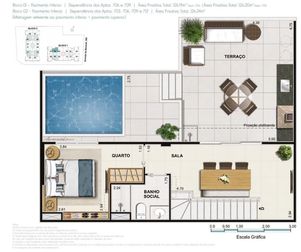 Cobertura 3 quartos 1 suite