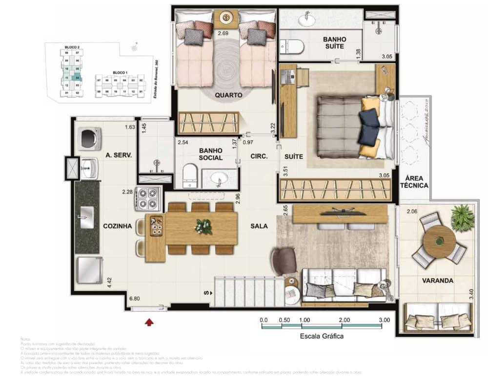 Cobertura 3 quartos 2 suites
