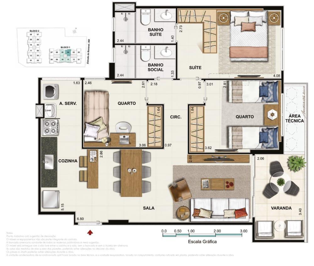 Apartamento 3 quartos 1 suíte