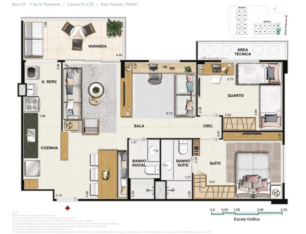 Apartamento 3 quartos 1 suite