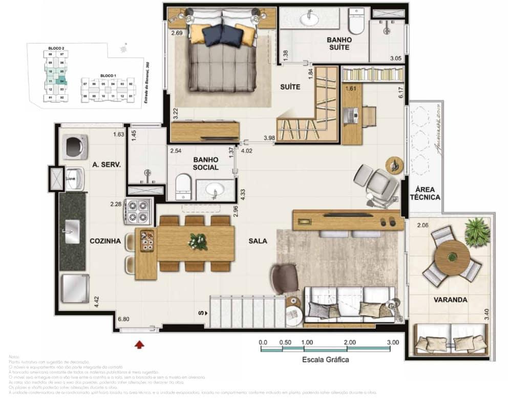Cobertura 3 quartos 2 suites Bloco 02