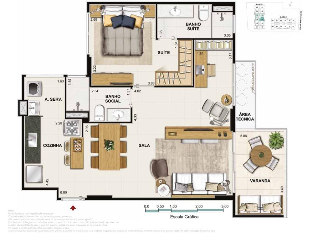 Apartamento 2 quartos 1 suite