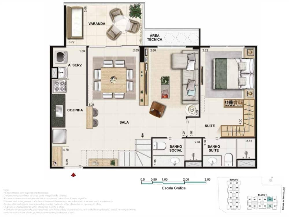 Cobertura 2 quartos 1 suite
