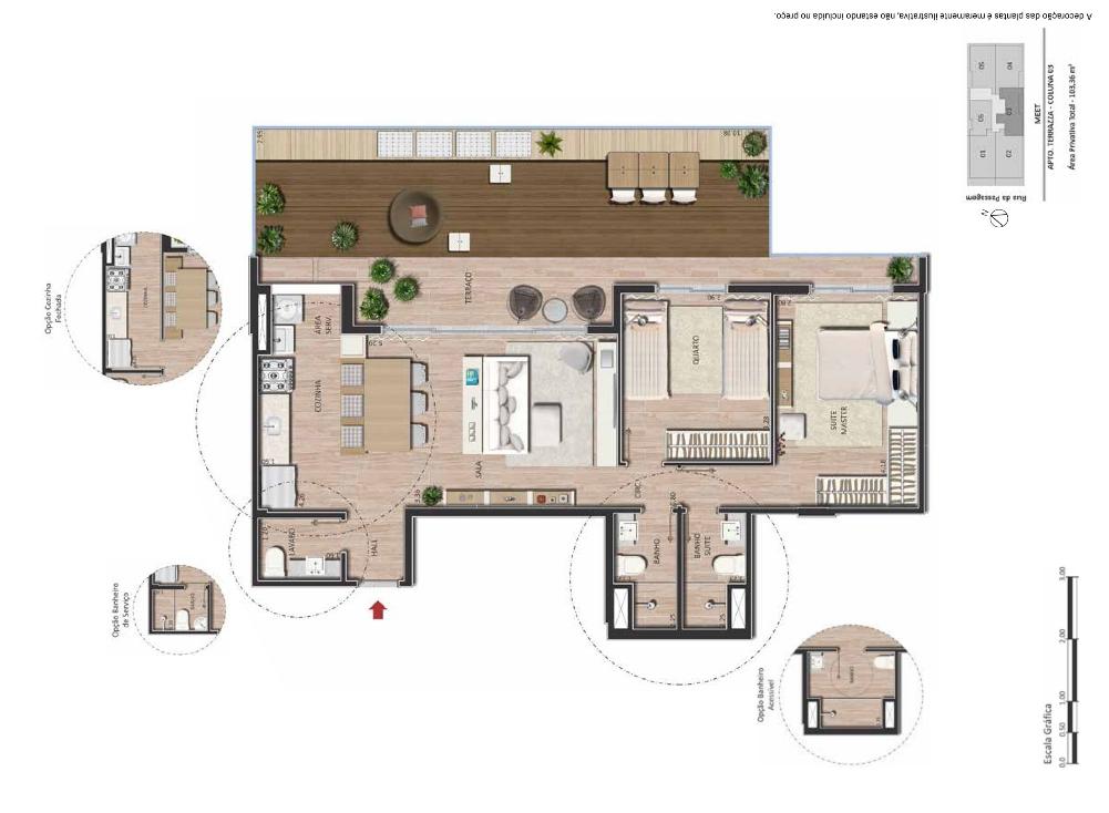 Apartamento terrazza 2 quartos