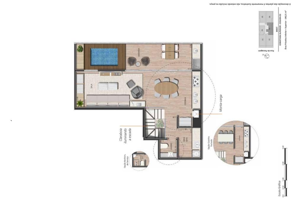 Planta cobertura 2 suites