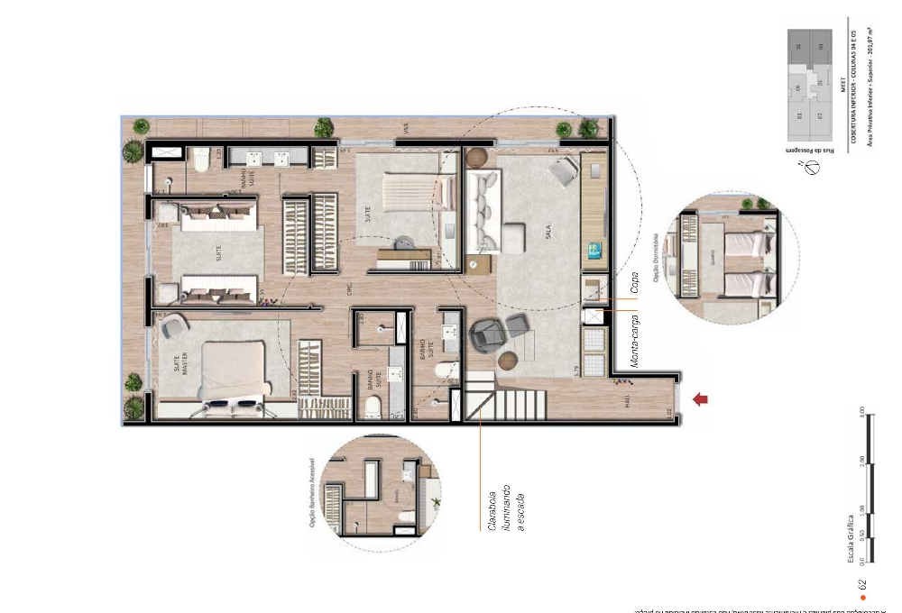 Planta Cobertura 3 suites