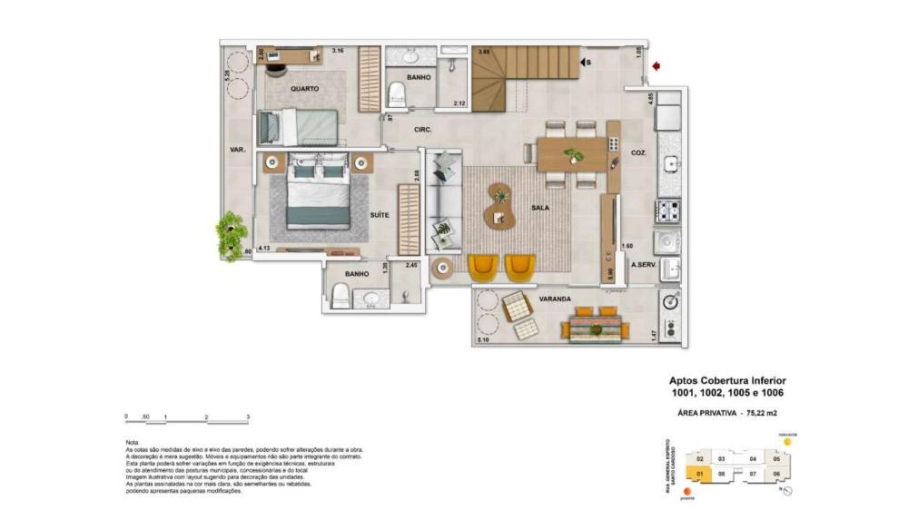 Apartamento Cobertura 2 quartos c/suíte