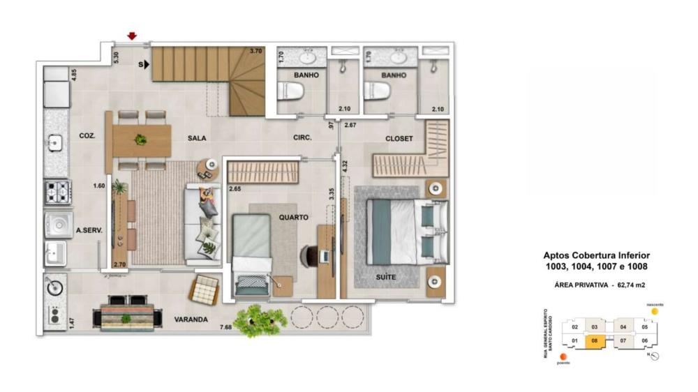 Cobertura Duplex 2 quartos c/suíte