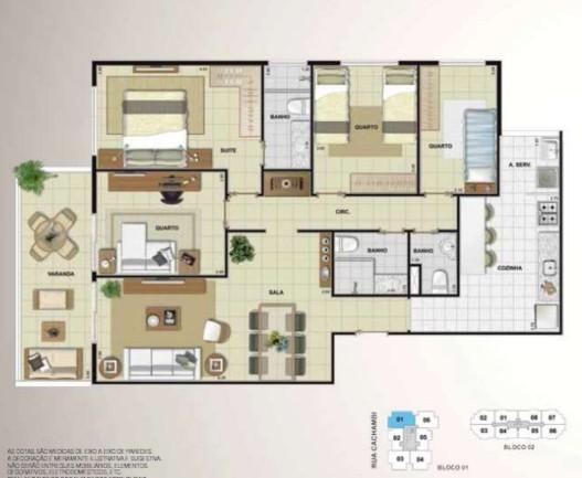 apartamento 4 quartos 1 suíte