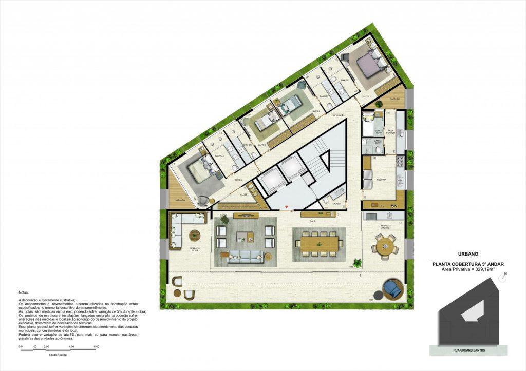 planta urbano residencial, cobertura do quinto andar.