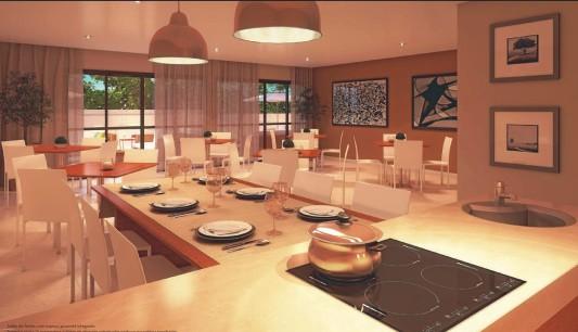 salão de festas com espaço gourmet integrado