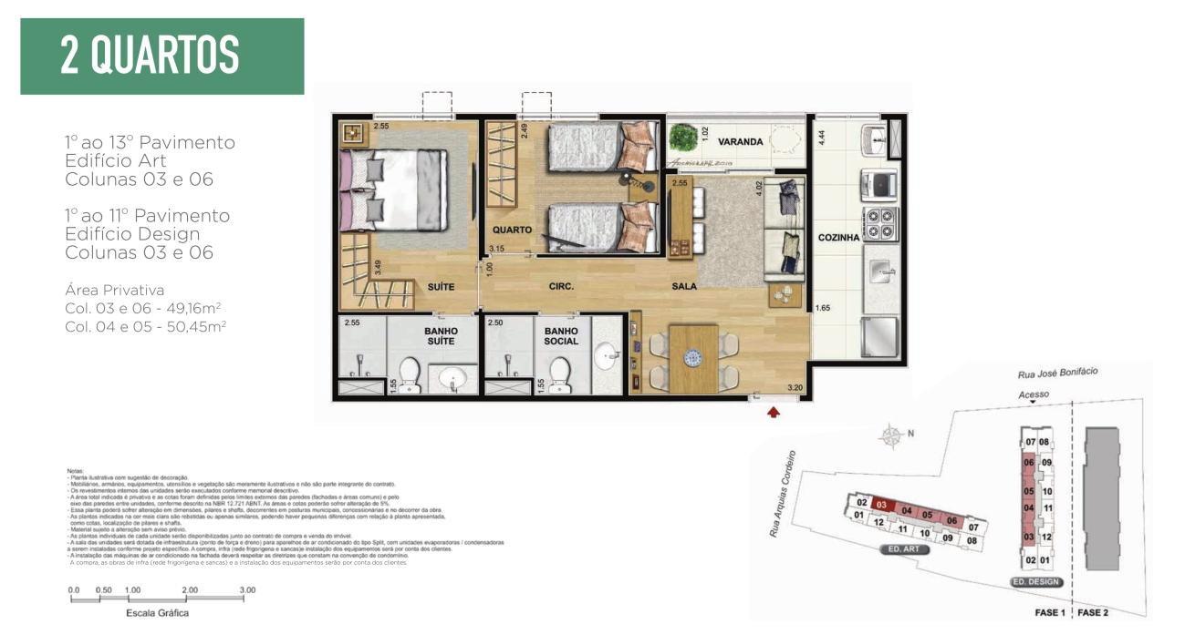 Planta Apartamento 2 quartos