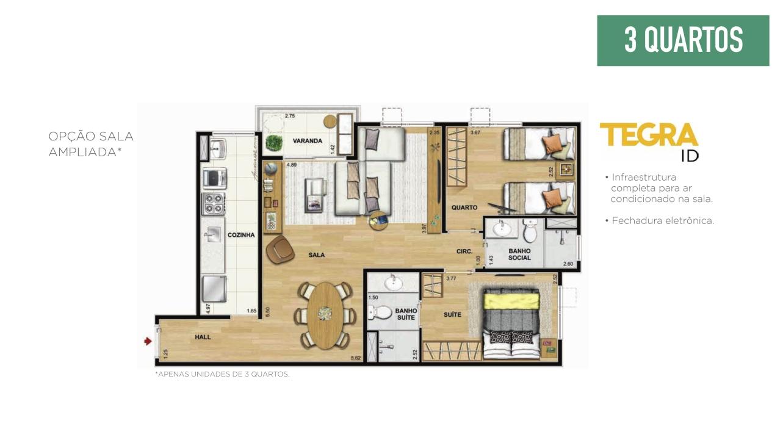 Planta Apartamento 3 quartos Sala Ampliada
