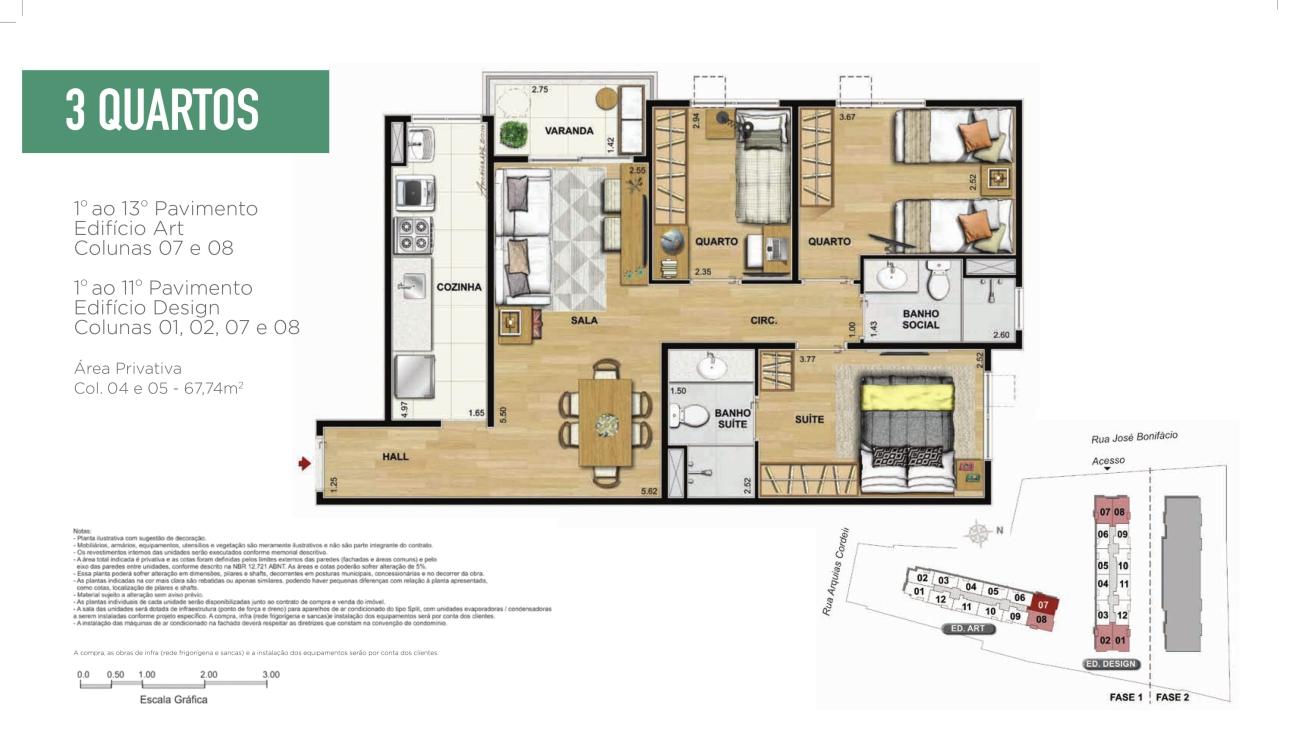 Planta Apartamento 3 quartos