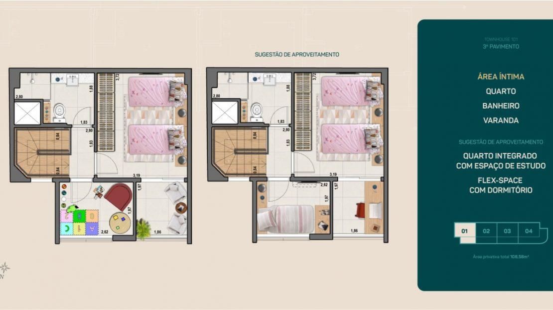 flamengo town houses quarto banheiro e varanda