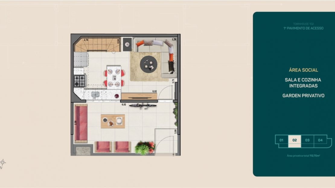 flamengo town houses sala e cozinha e garagem integrada