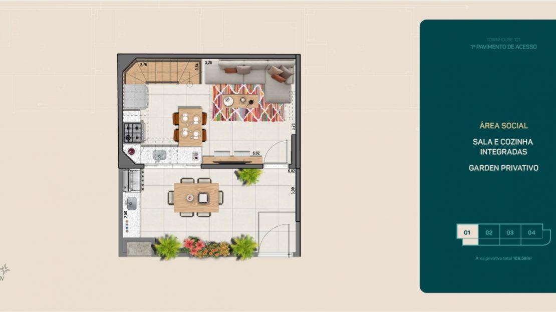 flamengo town houses sala e cozinha integrada