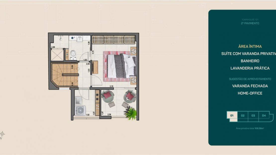 flamengo town houses suíte com varanda privada