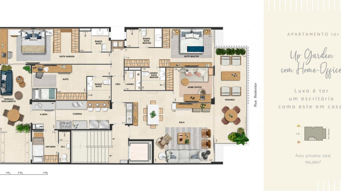 redentor ipanema 112 up garden com home office