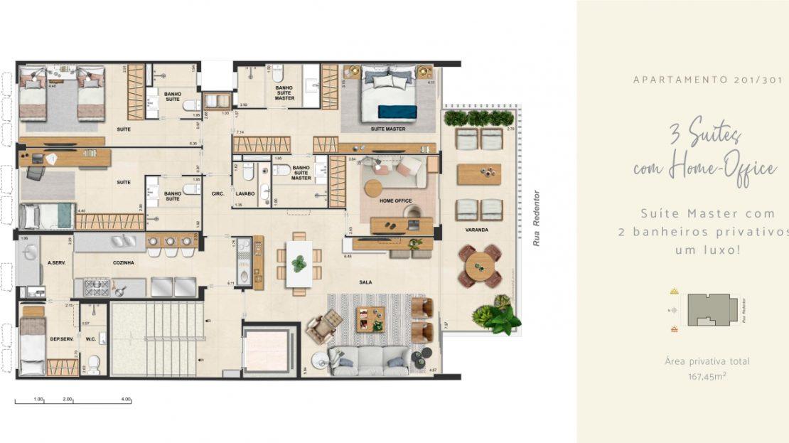 redentor ipanema 3 suites com home office