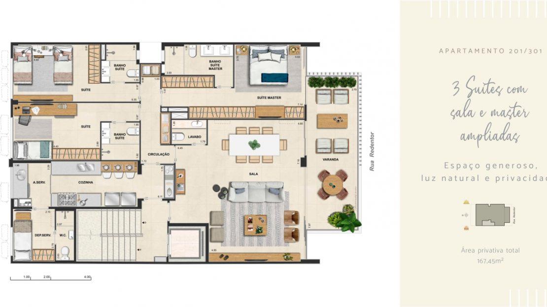 redentor ipanema 3 suites sala e master ampliada
