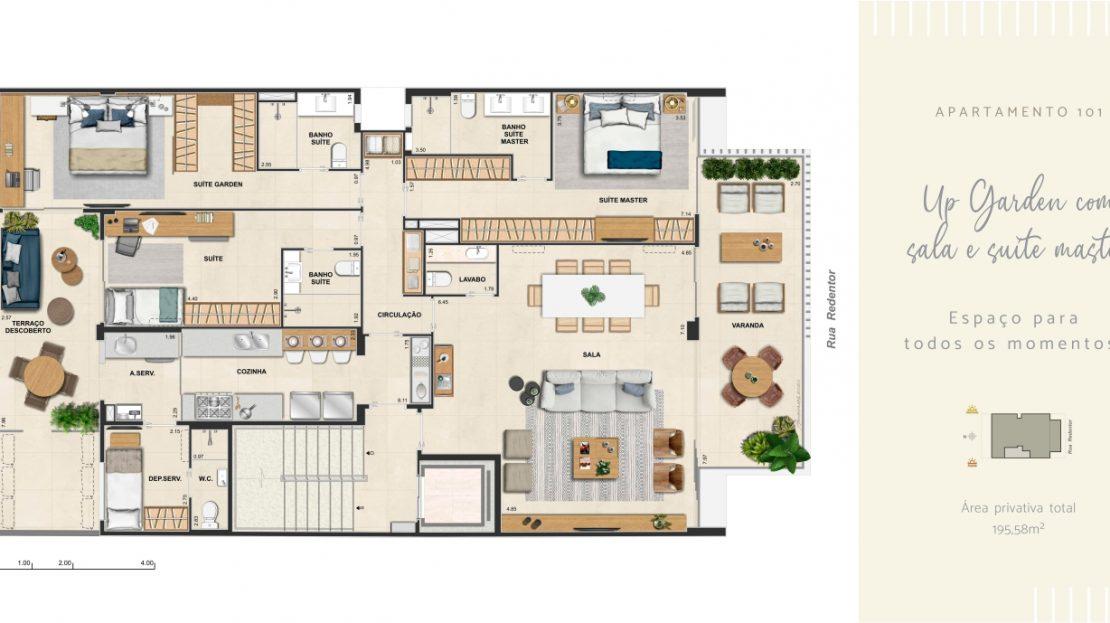 redentor ipanema up garden com sala e suite master ampliada